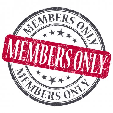 Members Only red grunge round stamp on white background
