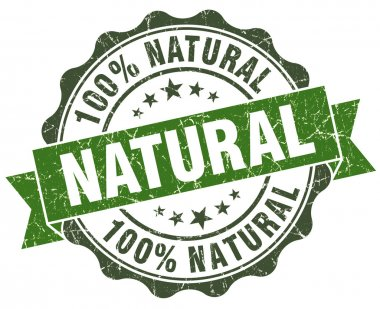 Natural green grunge retro style isolated seal