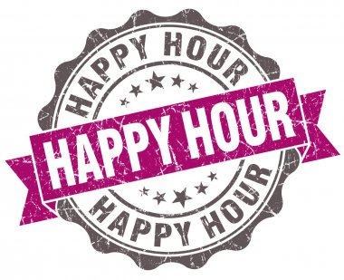 Happy hour violet grunge retro vintage isolated seal