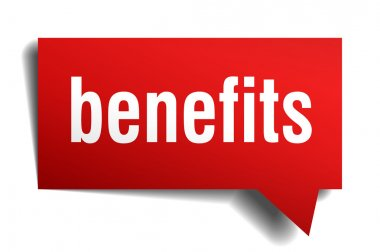 Benefits red 3d realistic paper speech bubble isolated on white