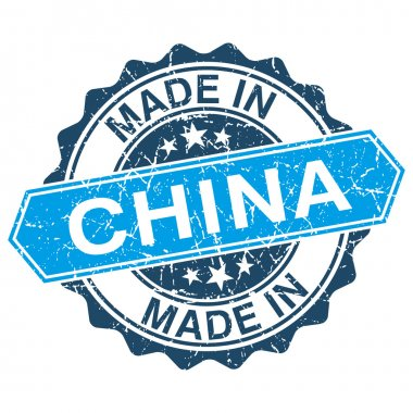 made in China vintage stamp isolated on white background