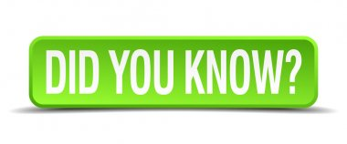 did you know green 3d realistic square isolated button