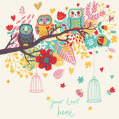Funny cartoon illustration, trendy card with owls sitting on the brunches
