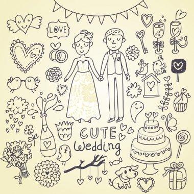 Wedding doodle sketchy vector illustration