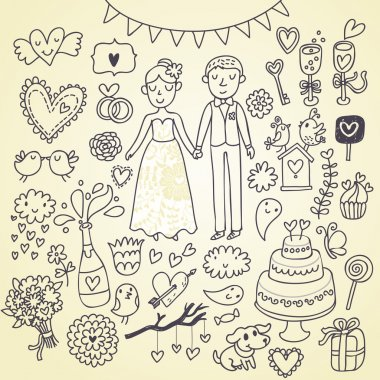 Wedding doodle sketchy vector illustration