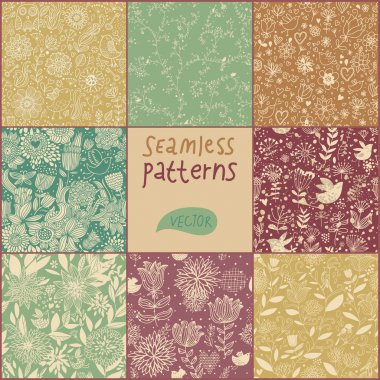 Cartoon seamless pattern. Vector set. Vintage flowers and birds