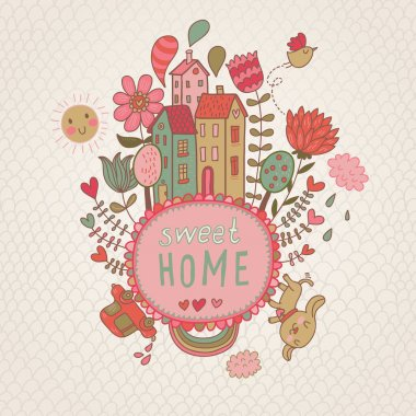 Sweet Home background with cote dog and flowers. vector illustration