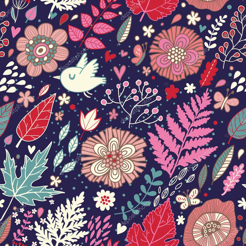 Seamless floral pattern with a bird flying and butterflies . Hand drawing. Vector
