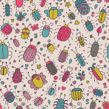 Funny bugs. Cute cartoon seamless pattern for vintage ornaments