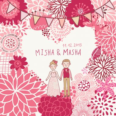 Wedding invitation. Cartoon romantic vector background in pink colors