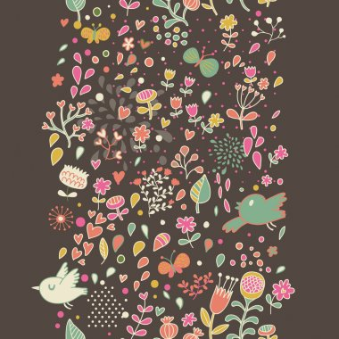 Floral seamless pattern with flowers. Cartoon background for vintage wallpapers