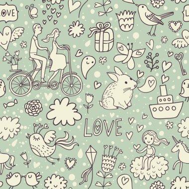 Romantic vintage seamless pattern