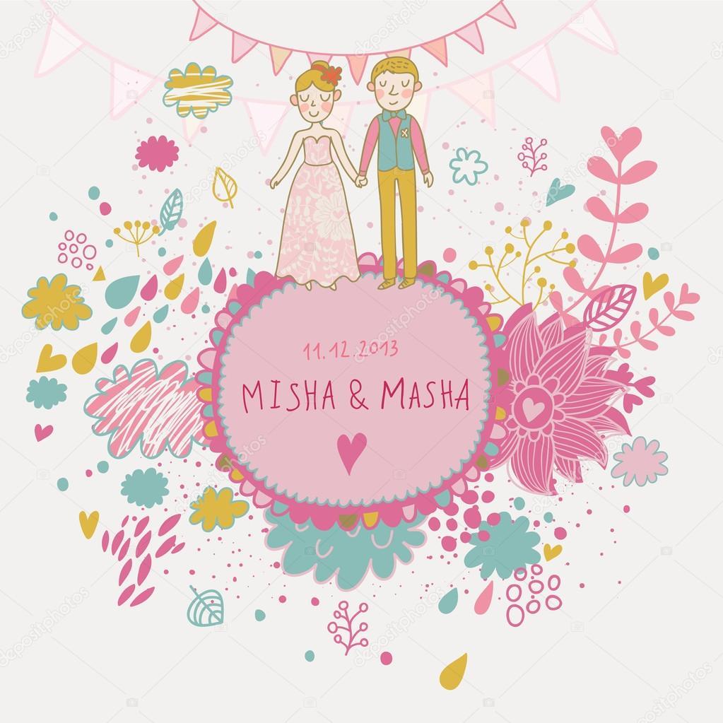 invitación de boda cute vector con espacio para el texto con las ...