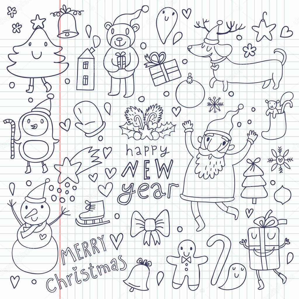 cartoon vektor weihnachten satz h bsch neujahr symbole. Black Bedroom Furniture Sets. Home Design Ideas