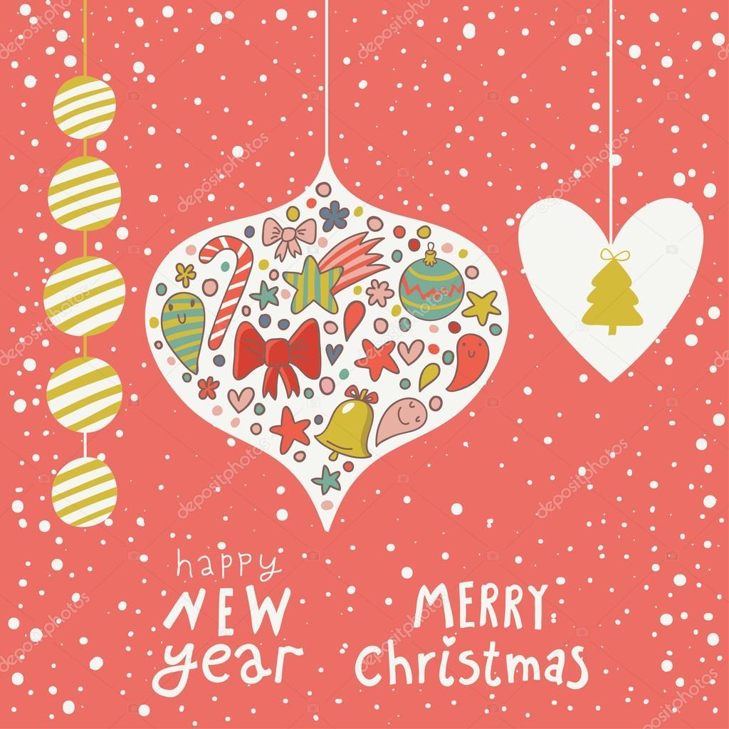 cc66bfe236c29 Fundo do conceito de Natal. cartão de ano novo dos desenhos animados —  Vetores de