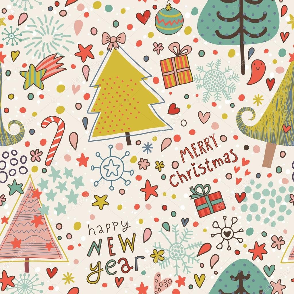 Nice cartoon seamless pattern. Christmas background in vector