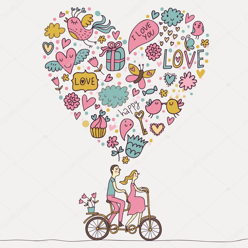 Romantic concept. Couple in love on tandem bicycle. Cute