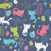 Funny cats. Cartoon seamless pattern for children background. Colorful wallpaper with cats, butterflies and flowers