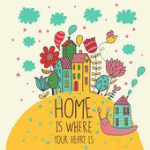 doma je, kde je vám srdce. kreslený obrázek ve vektoru