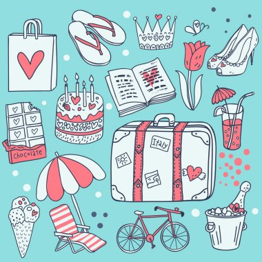 I love traveling! Cartoon vector set