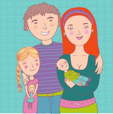 Happy family illustration in vector
