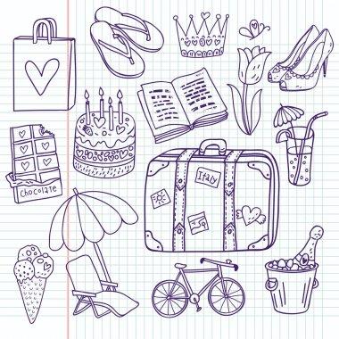 Doodle travel vector set