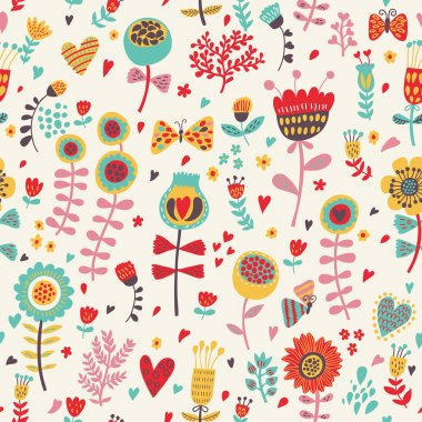 Simple cartoon floral seamless pattern for amazing wallpapers