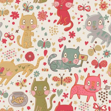 Funny cartoon seamless pattern. Cute cats and butterflies in flowers. Seamless pattern can be used for wallpaper, pattern fills, web page backgrounds, surface textures.