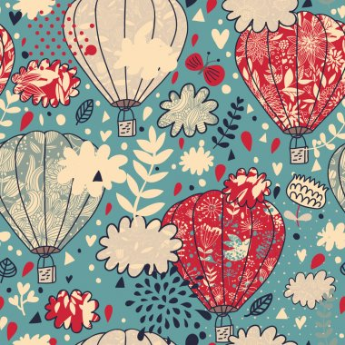 Sky concept seamless pattern with clouds, balloons and birds. Seamless pattern can be used for wallpapers, pattern fills, web page backgrounds, surface textures.