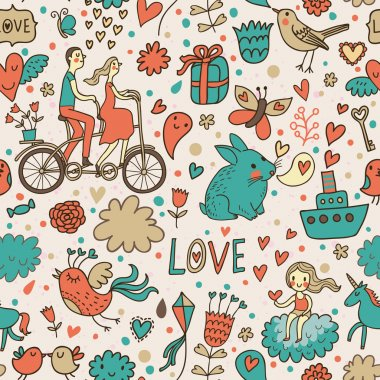 Romantic seamless pattern in stylish colors. Ideal pattern for wedding design. Seamless pattern can be used for wallpapers, pattern fills, web page backgrounds, surface textures.