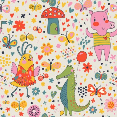 Funny cartoon animals in vector. Cute seamless pattern for children's wallpapers in pink colors