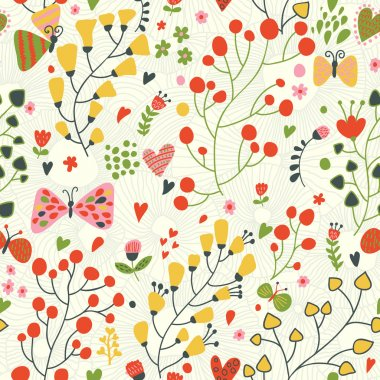 Bright floral seamless pattern. Seamless pattern can be used for wallpaper, pattern fills, web page backgrounds, surface textures. Gorgeous seamless floral background clip art vector