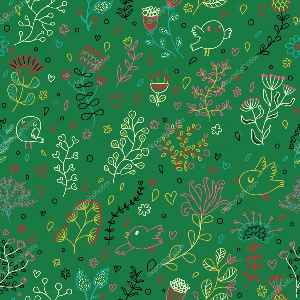 Green Colored Floral Seamless Pattern. Vector Wallpaper