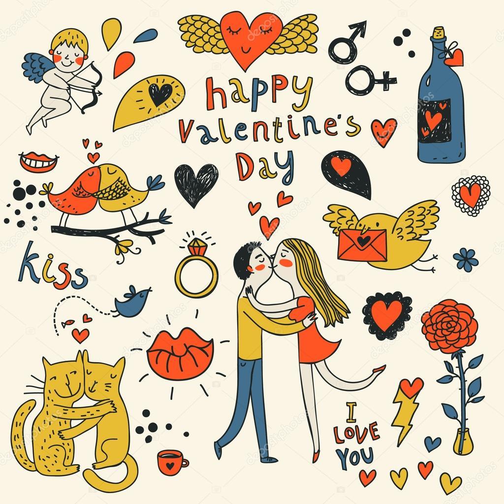 Vector valentine doodles set in color clipart vector