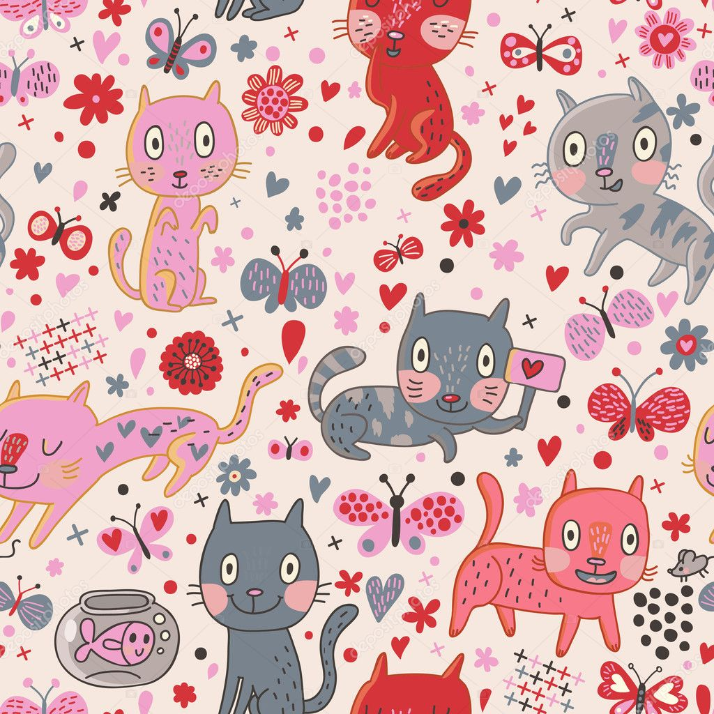 Funny cats in flowers. Cartoon vector seamless pattern