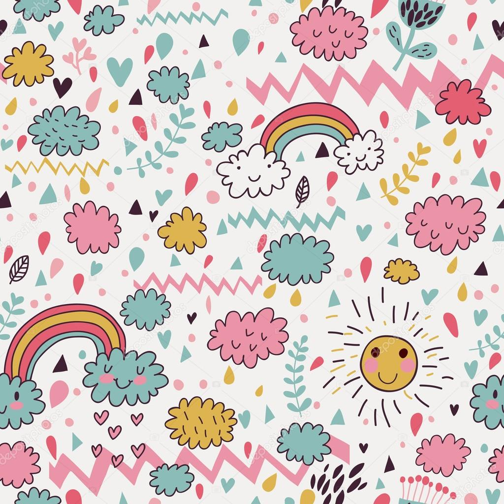 Weather concept background. Cartoon rainbow rainbow, cloud, sun. Seamless pattern can be used for wallpapers, pattern fills, web page backgrounds, surface textures.