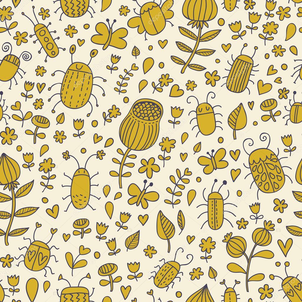 flowers bugs and butterflies cartoon seamless pattern for modern