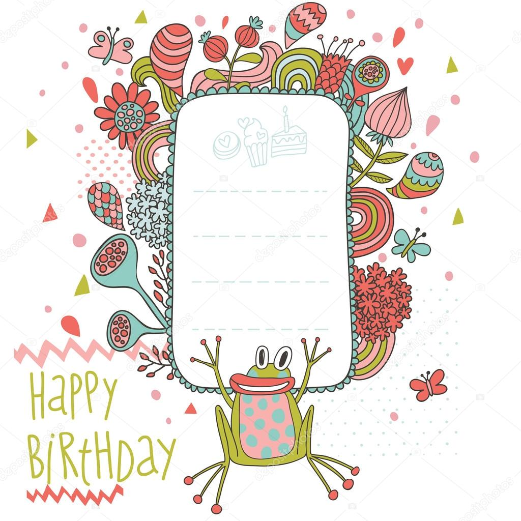 Happy Birthday Cartoon Background With Flowers Splashes Butterflies And Funny Frog Stock