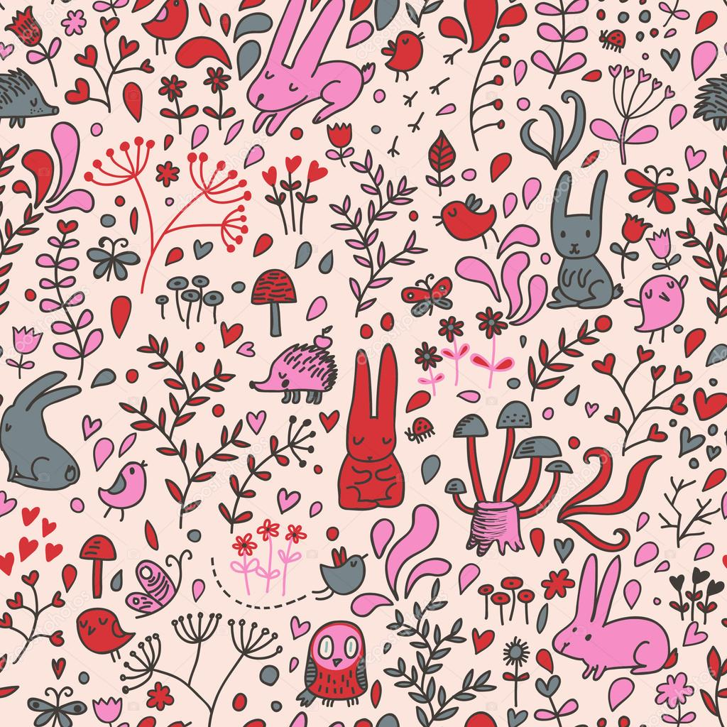 Funny cartoon seamless forest pattern for children background. Rabbits, birds, hedgehog, mushrooms, owl and butterflies