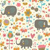 Reticolo senza giunte del fumetto per sfondi bambini. Elefanti svegli in fiori e farfalle