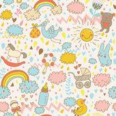Fotografie Konzept Baby nahtlose Muster. Spielzeug, Kinderkleidung, Tiere am Himmel. Bestes Muster für Packpapier für Babys