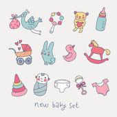 roztomilý kreslený dětský set. hračky, přepravu, baby, čáp v sadě legrační vektor