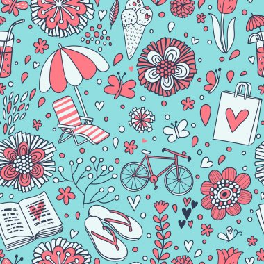 Vacation concept illustration. Vintage seamless pattern for travel wallpapers