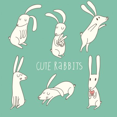 Cute playing rabbits in cartoon style