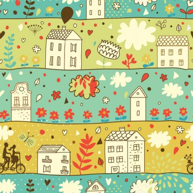 Cartoon town. Seamless concept pattern in vintage style