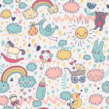 Concept baby's seamless pattern. Toys, children's clothes, animals in the sky. Best pattern for wrapping paper for babies