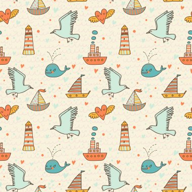 Marine concept seamless pattern. Whale, boat, ship, lighthouse, seagull in funny cartoon background in vector