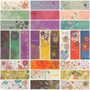 27 цветочные баннеры в векторе. романтический набор в мультяшном стиле. горизонтальные и вертикальные карточки с цветами, птицами, сердца, ветви. весной и летом концепция