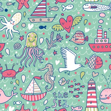 Marine concept seamless pattern. Seagull, whale, squid, octopus, boat, lighthouse and other nautical elements. Seamless pattern can be used for wallpaper, pattern fills, web page backgrounds.