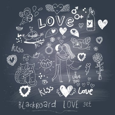 Blackboard romantic set in vector. Cartoon love symbols in vintage style clip art vector